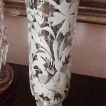 Victorian Etched Mercury Glass Vase - Art Glass