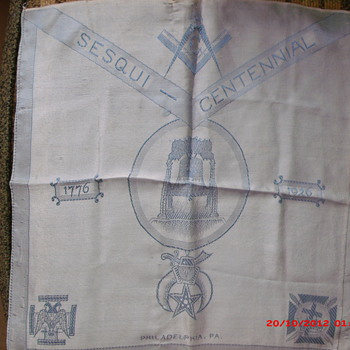 Philadelphia Masonic Sesqui-Centennial Silk Scarf  from 1926  - Accessories