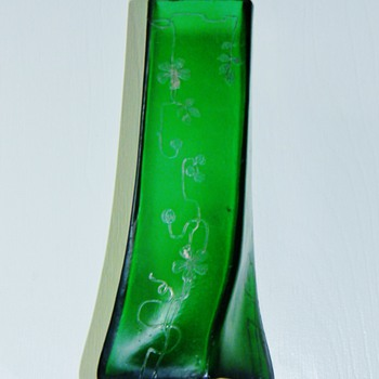 Carl Goldberg Silver Overlay Slow Twist Green Satin Vase  - Art Glass