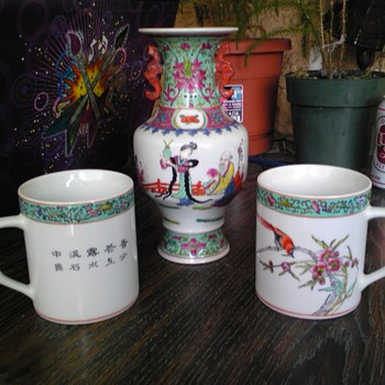 asian coffee cups turquoise hand painted - Asian