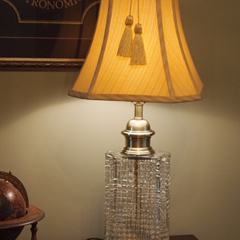 James Clew Brass and Crystal Decanter Lamp - Lamps