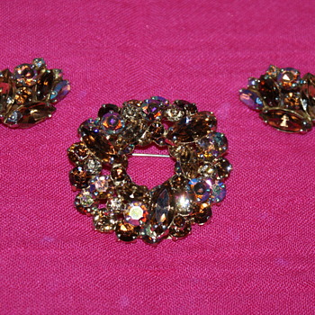 Vintage Sherman Brooch and Earrings