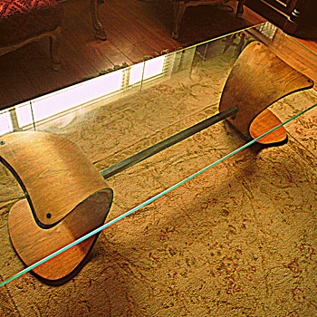 Art Deco Coffee Table, Mid Century, Thick Glass 60 Inches Long, Canadian?