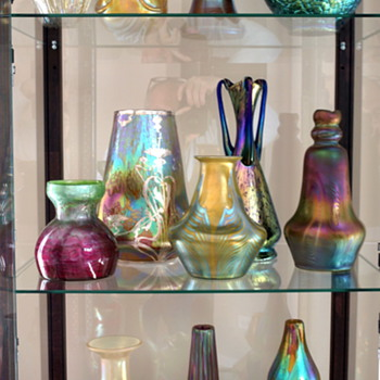 "one of our ""Fancy"" cabinets, 99% Loetz in this one... - Art Glass"
