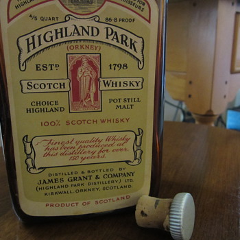 very old Highland Park Scotch Bottle made in scotland