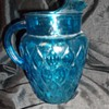 aqua blue depression glass pitcher