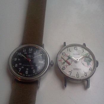 1960's  Globa Compass watch, and 1976 Timex military style watch - Wristwatches