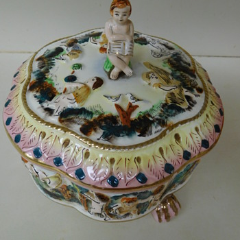 "Whimsical Vintage Ceramic Bowl with Lid. ""Handpainted. Made in Japan"" Child Theme"