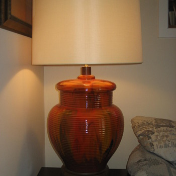 Large Mid Century Modern Orange Lamp - Lamps