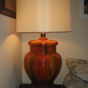 Large Mid Century Modern Orange Lamp