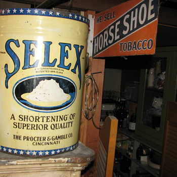 Very large shortening can & porcelain tobacco sign