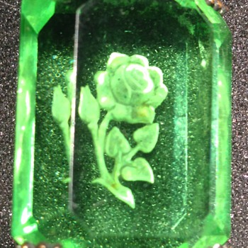 Glass and Sterling Pin With Etched Rose