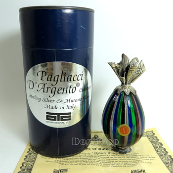 Murano Egg Pagliacci D'Argento - Art Glass