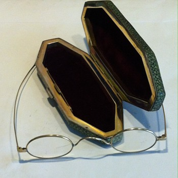 Antique galuchat/stingray and silver eye glasses case + glasses.