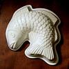 White and Blue Ceramic Fish Japan