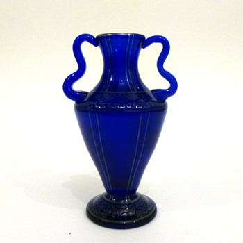 Blue silver-deposit vase - Art Glass