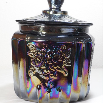 Mayfair Amethyst Open Rose Cookie & Biscuit Jar w/ Lid