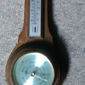 Comitti of London barometer and Thermometer combined frying pan style, 1950s solid wood frame  - Tools and Hardware