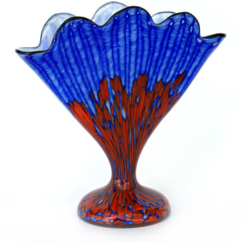 WELZ Fan Vase...Blue/Red Stripes and Spots - New addition to the Garden