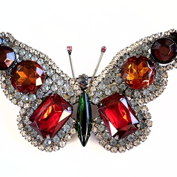 Gorgeous Huge Pave Rhinestone KJL Butterfly Brooch Pin - Costume Jewelry