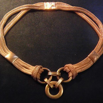 Antique gold/brass, mesh necklace for infants?