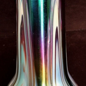 RINDSKOPF Pulled Feather Irredescent Vase Art Nouveau - Art Glass