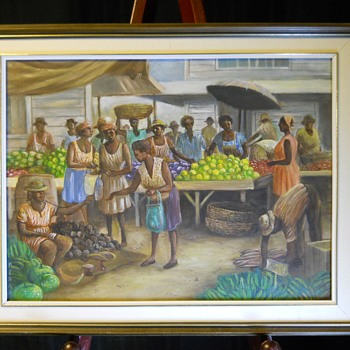 "2/3 Market Place Scene, Oil On Canvas, Impressionist,""M.Khan""20 Century - Visual Art"