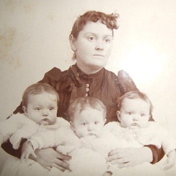 Cabinet card of Mom with her TRIPLETS - Photographs