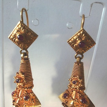 18K Revival Victorian/Georgian Etruscan Ruby Earrings, Antique 14K Yellow Gold Garnet Earrings