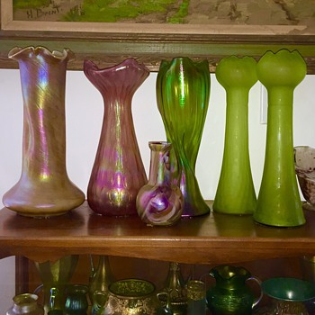 Monumental Rindskopfs in Iridescent Coloured Vases