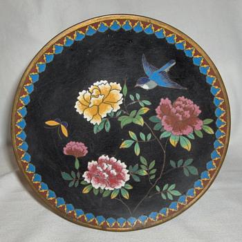 Fine Japanese 1880-90 Cloisonne Plate Summer Peony & Blue Bird