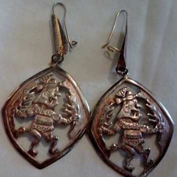 mayan type earrings silver