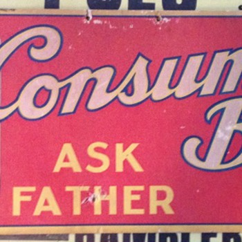 1930's Consumer's Beer Cardboard sign - Advertising