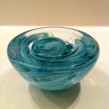 Kosta Boda Atoll Swirl Votive Bowl By Anne Ehrner - Art Glass