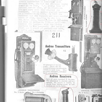 Julius Andrae receiver and photo&#039;s book - Telephones