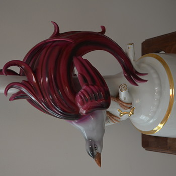 Beautiful Porcelain Exotic Bird Lamp