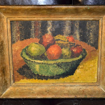 Bowl of Fruit Midcentury Painting