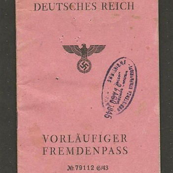 German 3rd Reich Alien Passport - Paper