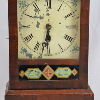 Antique Wooden Mantel Clock with Geometric Designs Maker Unknown - Clocks