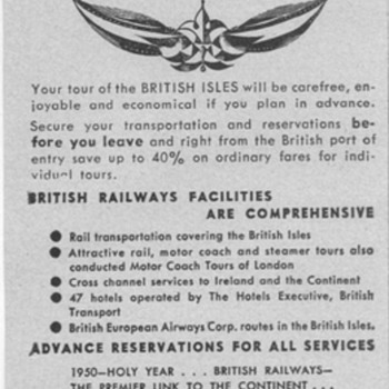 1950 British Railways Advertisement - Advertising