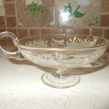 Elegant Wheel Cut Unusual Shape Cup? Nappy? Dessert? Pontil Help ID