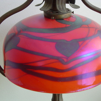 art glass heart and vine shade... - Lamps
