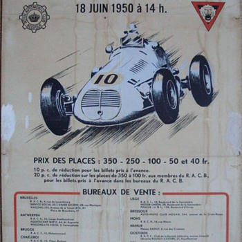 1950 Belgian race poster F1 - Posters and Prints