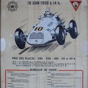 1950 Belgian race poster F1