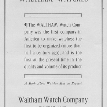 1909 - Waltham Watch Advertisements - Advertising