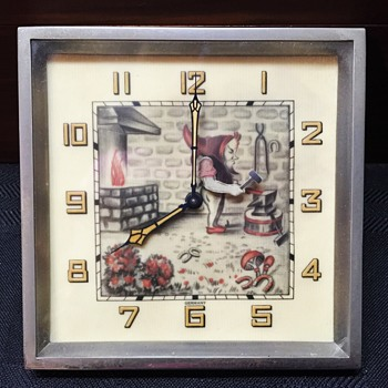 "Blacksmith Elf ""Animated"" Clock Circa 1930 Germany - Clocks"