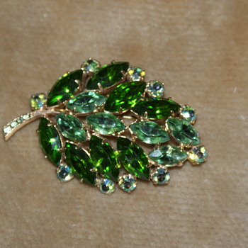 Green and AB Rhinestone Leaf Brooch
