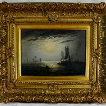 "Beautiful Adolphus Knell (19th C.English) Oil ""Ships On The High Seas"" - Visual Art"