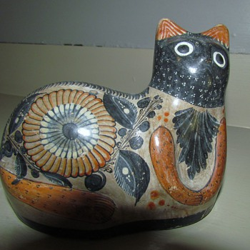Halloween Cat - Mexican Tonala Style Ceramic Cat in Black, Grey and 'Orange' - Art Pottery
