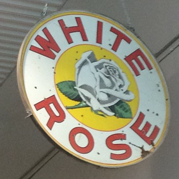 White rose double sided porcelain sign